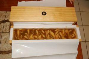 Swirled raw soap in mold
