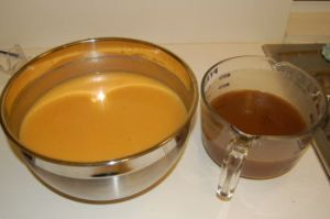 Mother batter (left) and spiced batter (right)