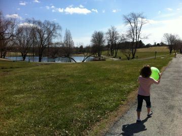 2:00 pm Daughter walking to the duck pond