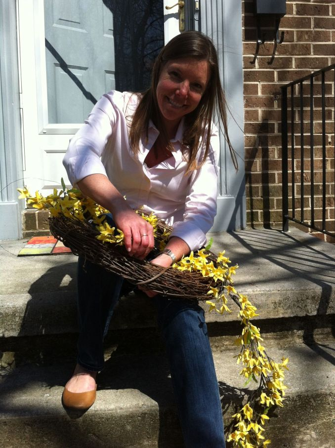 3:30 pm Me making our spring wreath