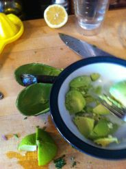 5:15 pm Making guacamole