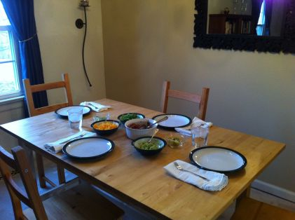 6:00 pm The dinner table