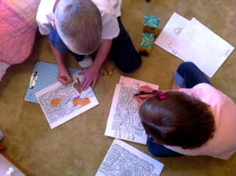 10:30 am Kids coloring addition color by numbers. Their choice