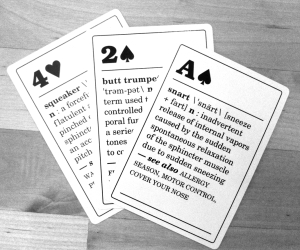 Fart Cards, featuring Snart, Butt Trumpet, and Squeaker on andreabadgley.com