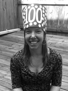 I made a hat. Kindergarten-inspired 100 posts, 100 words hat by Andrea Badgley at andreabadgley.com black and white photograph