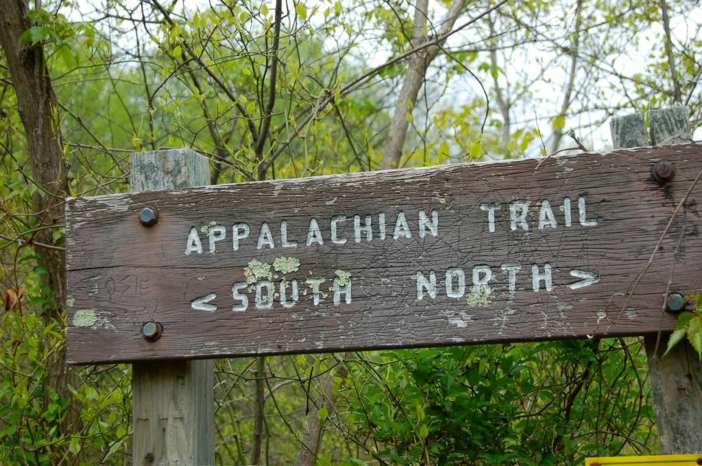 Appalachian Trail sign at McAfee Knob parking lot Blacksburg VA on andreabadgley.com
