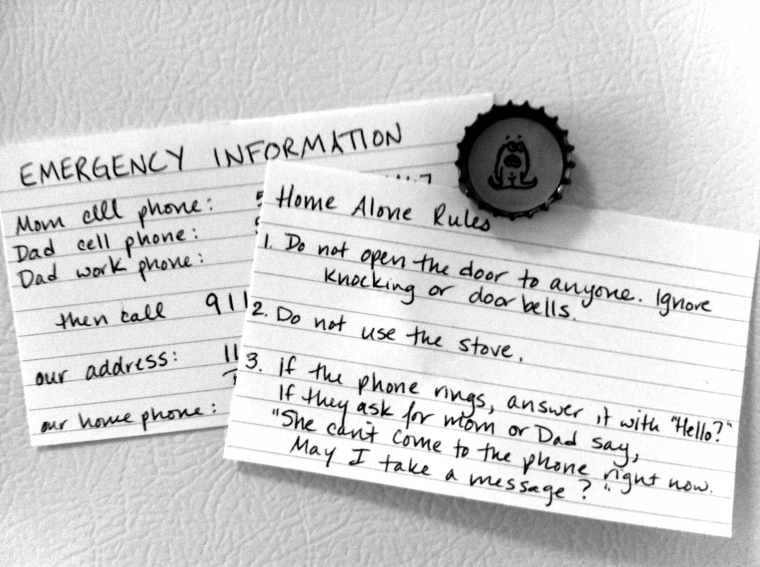 Home Alone Rules for kids on andreabadgley.com black and white photo of index card