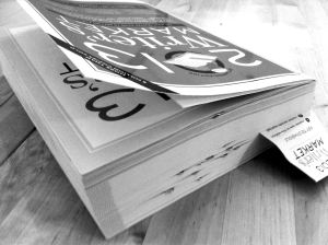 bookmarked, paper clipped, 2013 Writer's Market by Robert Lee Brewer black and white photograph on andreabadgley.com