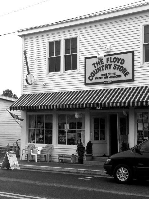 Floyd Country Store banjo sign black and white photograph on andreabadgley.com
