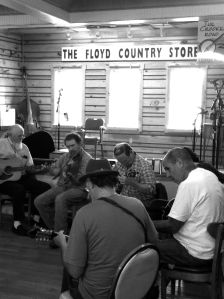 Sunday Old Time music jam at Floyd Country Store black and white photograph on andreabadgley.com
