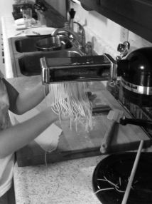 homemade Spaghetti noodles black and white photograph on andreabadgley.com