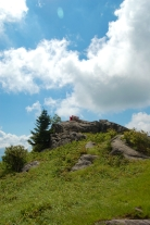 Kids on rock outcrop on Wilburn Ridge, Appalachian Trail, hike to Mt. Rogers from Massie Gap, VA on andreabadgley.com