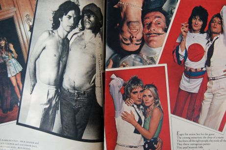 Mick Jagger and Keith Richard, Alice Cooper and Salvador Dali, Rod Stewart and Britt Ekland, Ron Wood with Rod Stewart; 1977 Rolling Stone; photos by Annie Leibovitz on andreabadgley.com