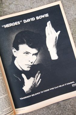 "ad in 1977 Rolling Stone for David Bowie's ""Heroes"" album, released 1977 on andreabadgley.com"