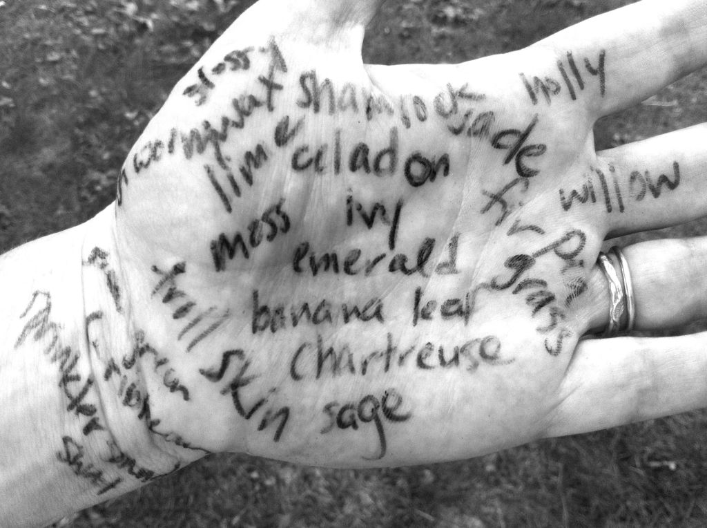 Writing on hand, synonyms for green on andreabadgley.com black and white photo