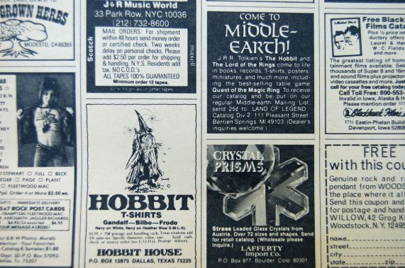 Hobbit and Middle Earth ads in the back of 1977 Rolling Stone magazine on andreabadgley.com