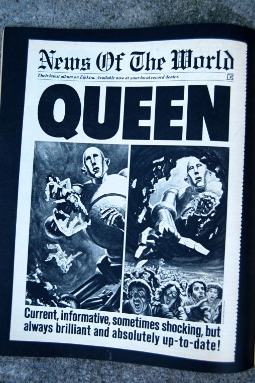 "Ad in Rolling Stone for Queen's ""News of the World"" album, released October 1977 on andreabadgley.com"