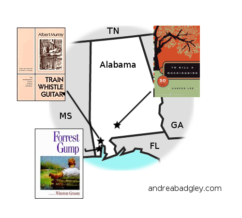 Andrea Reads America map of Alabama book selections on andreabadgley.com