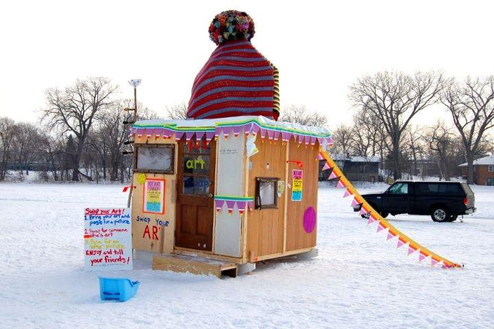 Art swap shanty, Minnesota, 2010