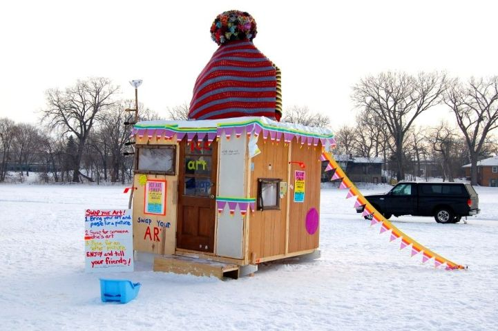 Art swap shanty, Minnesota, 2010