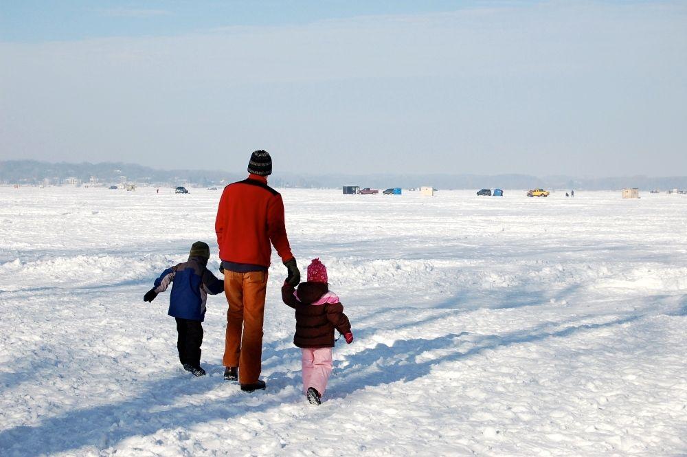 Walking on a frozen lake, Art Shanty exhibit, Minnesota, 2010
