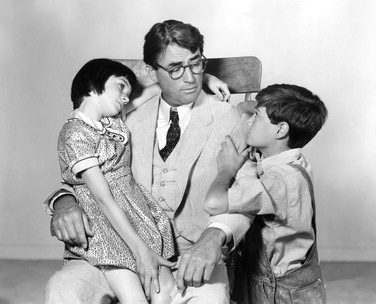left to right: Scout, Atticus, Jem from To Kill A Mockingbird