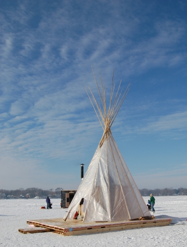 Art Shanty on frozen lake in Minnesota on andreabadgley.com