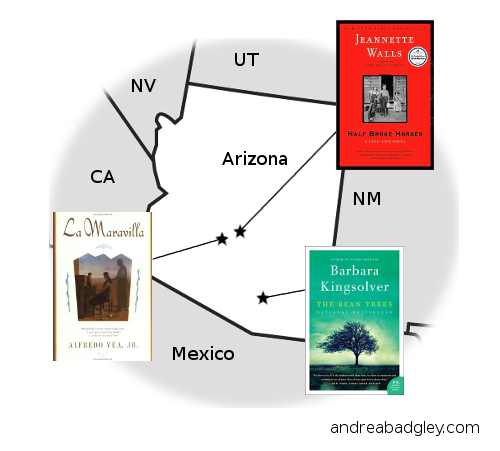 Andrea Reads America map of book selections from Arizona on andreabadgley.com