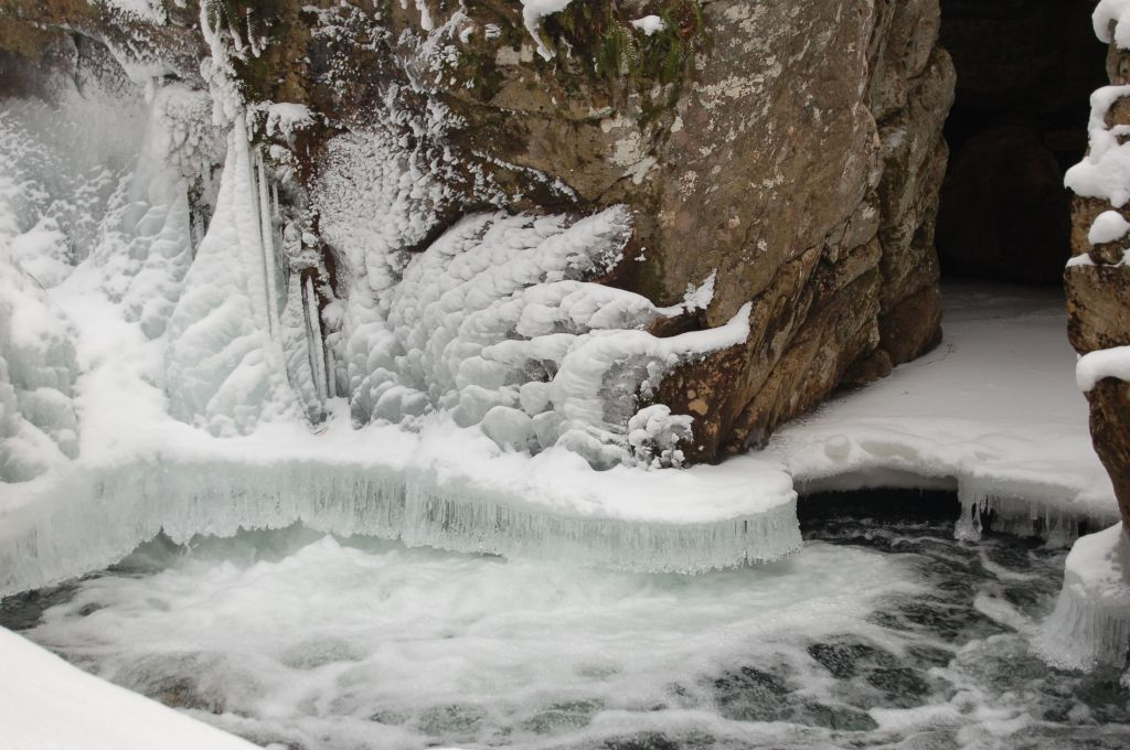Ice, stream, and cave on hike to Cascades near Blacksburg, VA. January 2014