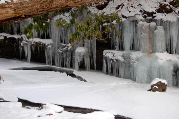 Icicles and snowy stream on hike to Cascades near Blacksburg, VA January 2014 on andreabadgley.com