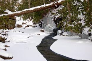 Icicles, snow, and stream on Cascades hike near Blacksburg, VA January 2014 on andreabadgley.com