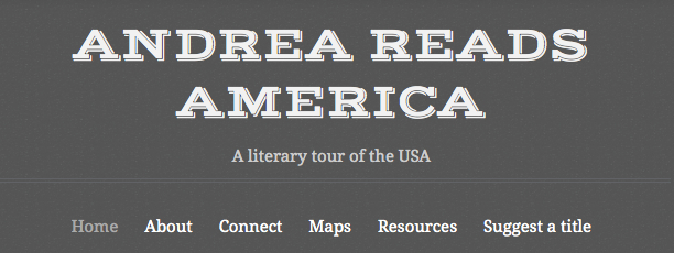 Andrea Reads America blog header using Typo theme on andreareadsamerica.wordpress.com