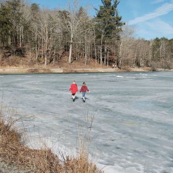Walking on ice, Pandapas Pond, Blacksburg, VA February 2014 by Andrea Badgley on Butterfly Mind