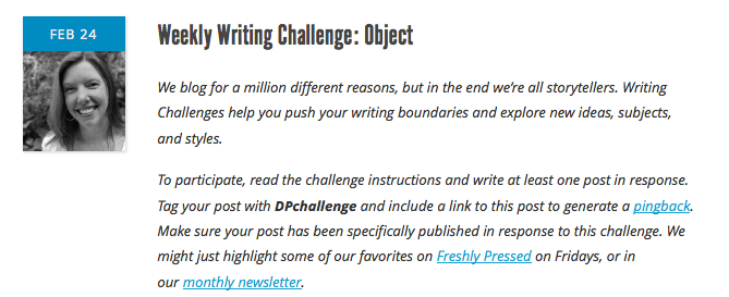 Screenshot Weekly Writing Challenge: Object guest post by Andrea Badgley on The Daily Post