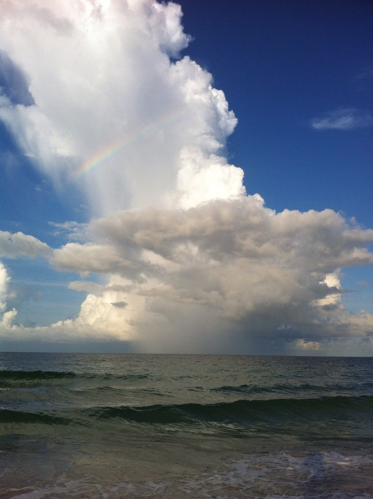 Cloud with rainbow over Gulf of Mexico, FL by Andrea Badgely on Butterfly Mind