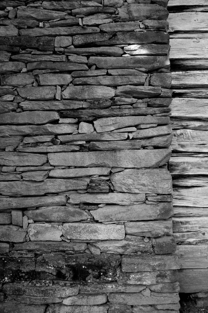 Chimney on Mabry Mill cabin, black and white photograph by Andrea Badgley