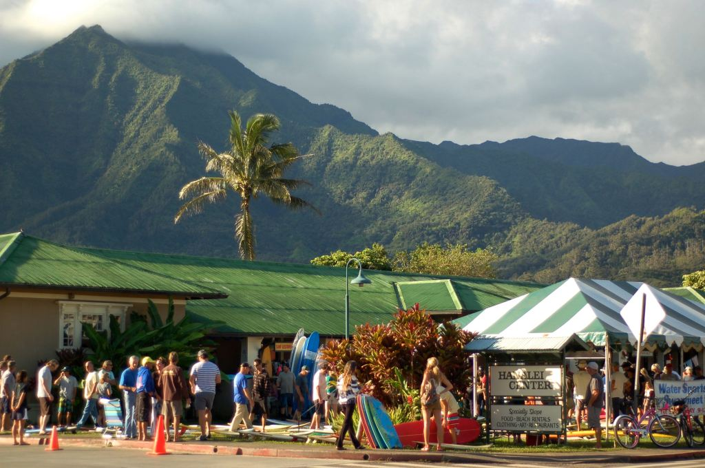 near Quicksilver surf shop in Hanalei, HI