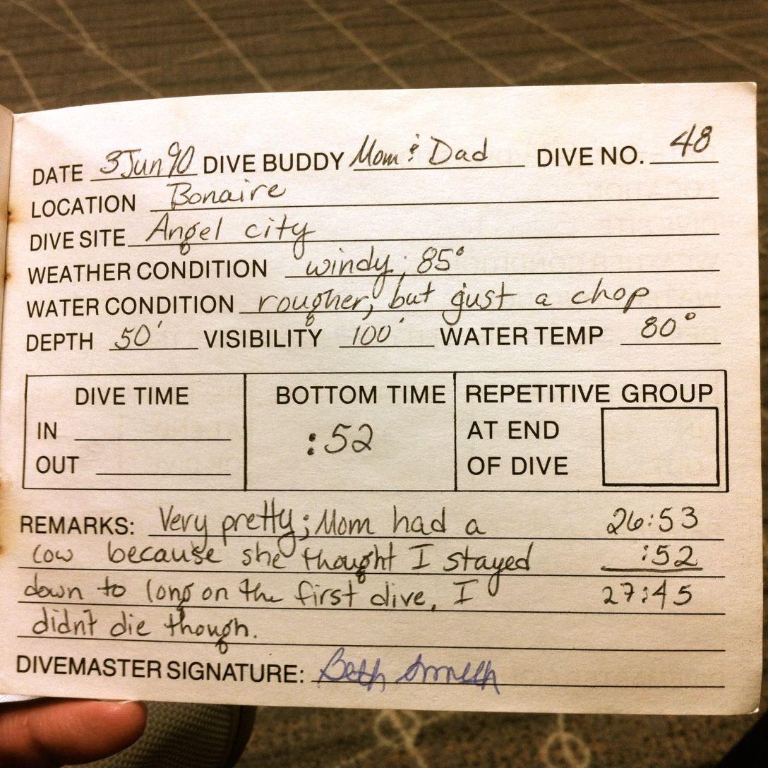 Badgley dive logs, 1990