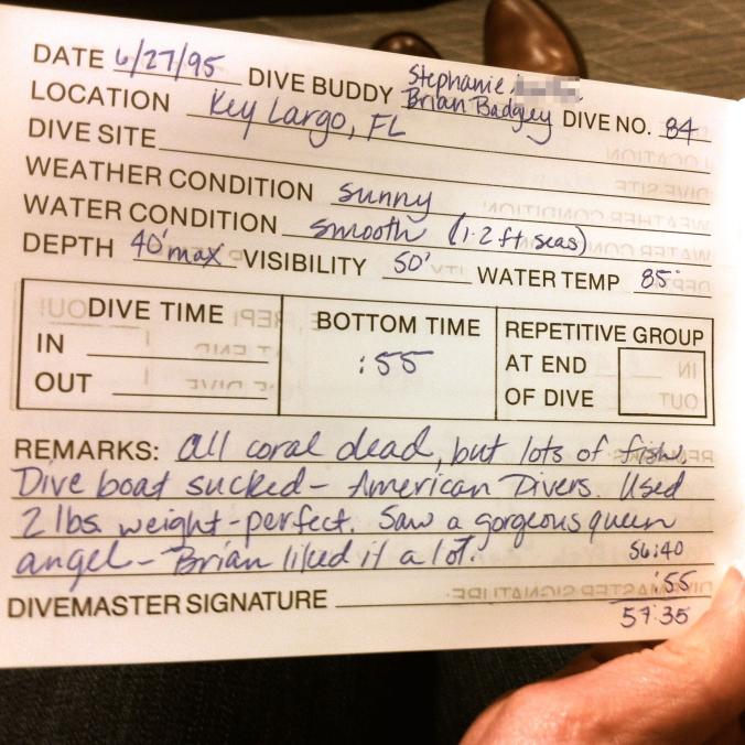 Badgley dive logs, 1995