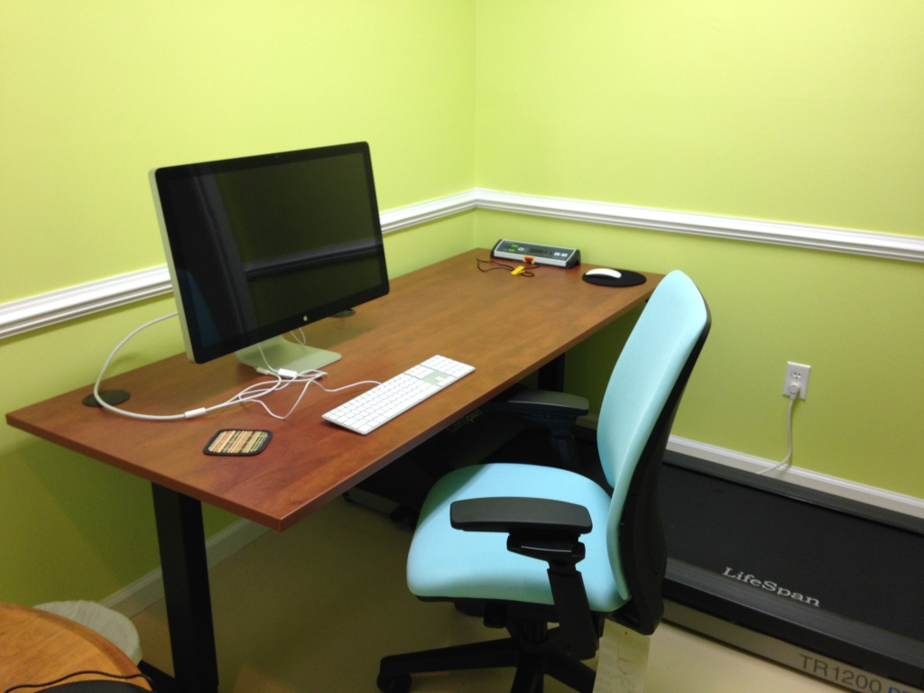 Home office with sit-stand desk lowered by Andrea Badgley on Butterfly Mind