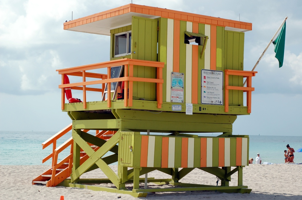 Lime and orange lifeguard stand, looking out to sea, Miami Beach by Andrea Badgley on Butterfly Mind