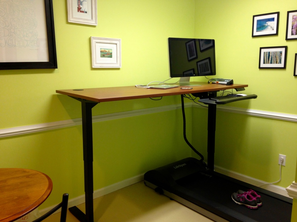 Home office with treadmill desk