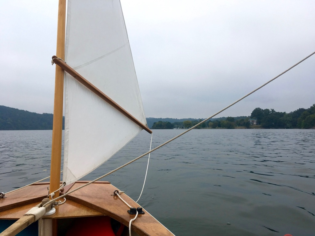 Claytor Lake, view off stern of sailboat