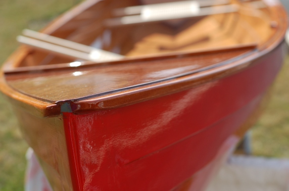 Red canoe built by husband and kids