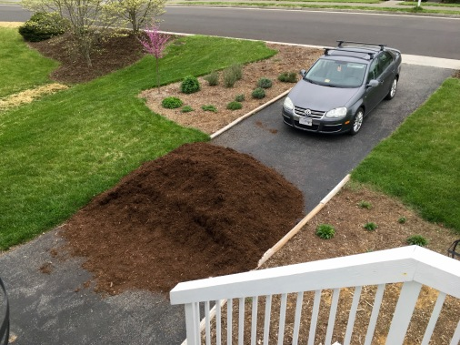 Pile after mulching hill