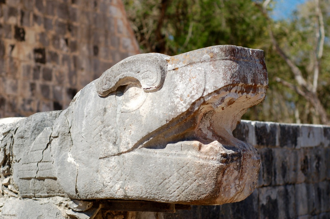 Serpent head at Chichen Itza