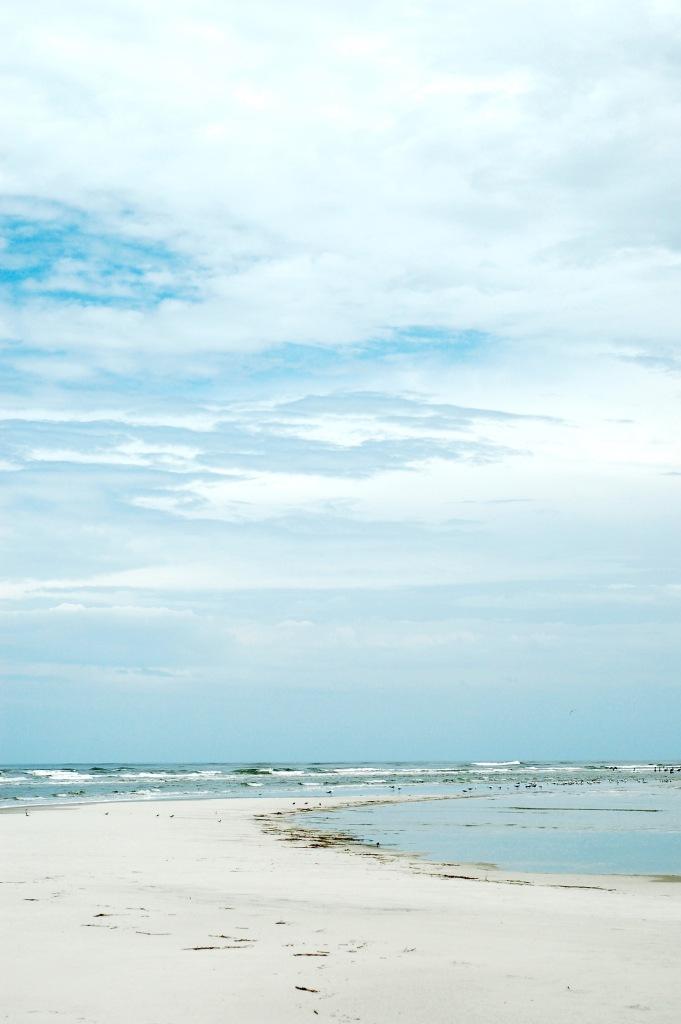 sandbar spit blue sky birds tybee