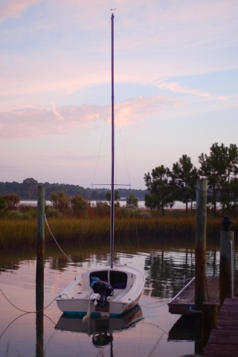 sunrise sailboat at dock