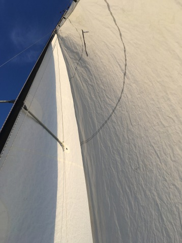 On the bow, under the jib