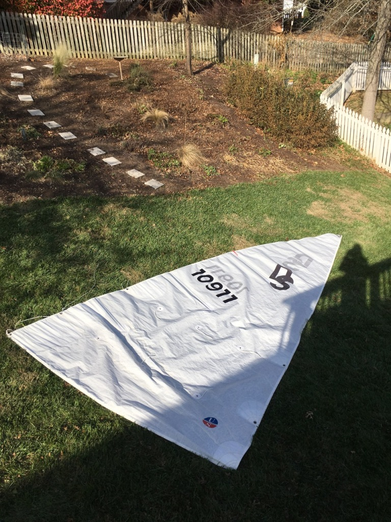 main sail in grass for winter